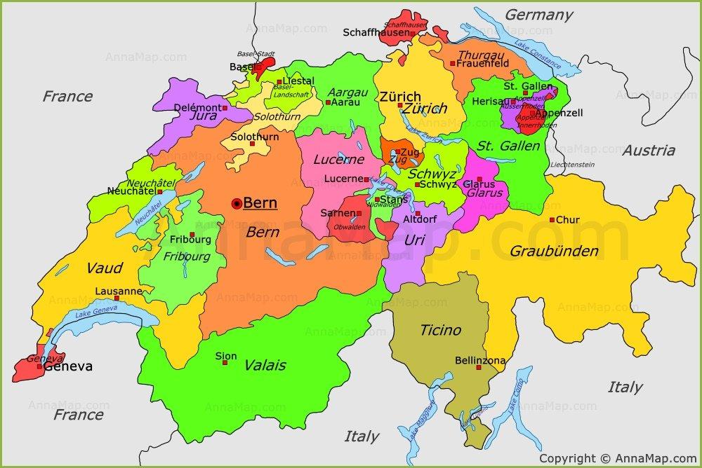 نقشه سوئیس