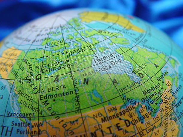 نقشه کانادا روی کره زمین جغرافیا